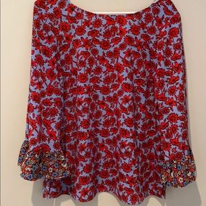 Dahlia women's red and blue top